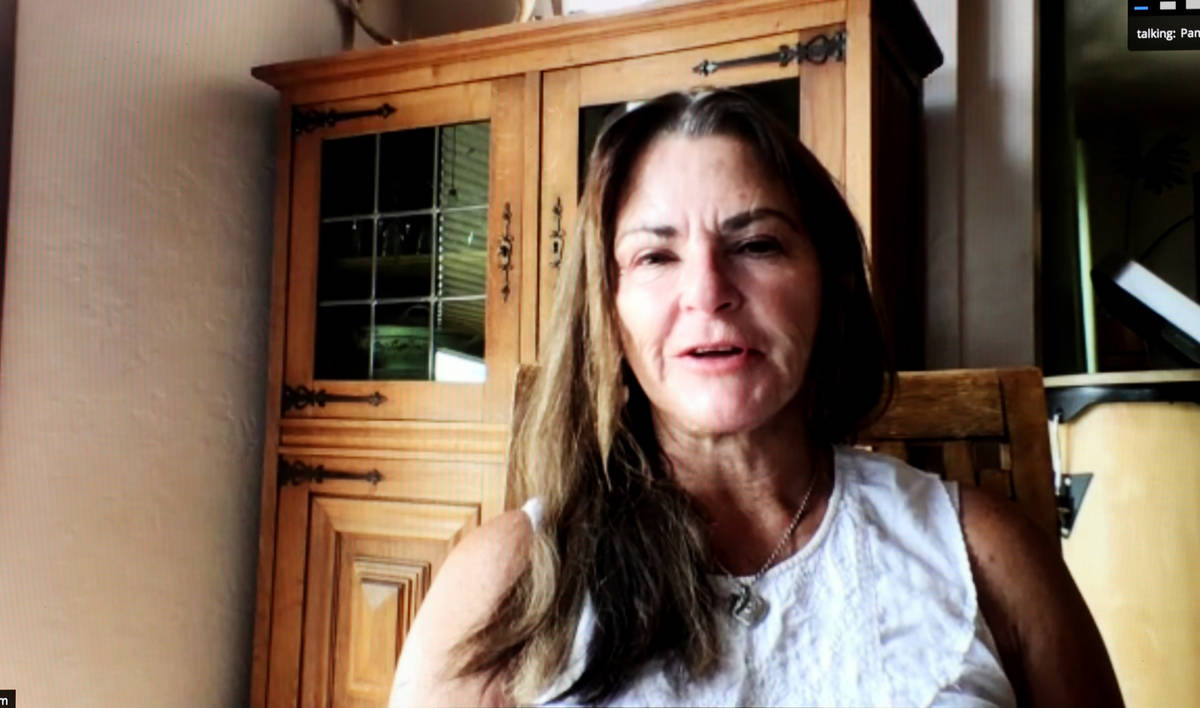 Route 91 Harvest festival shooting survivor Pam Lane during a Zoom call on Wednesday, Sept. 23, ...