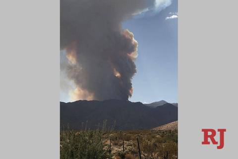A fire started by lightning on Sept. 21, 2020, has burned 3,000 acres in the Virgin Mountains a ...