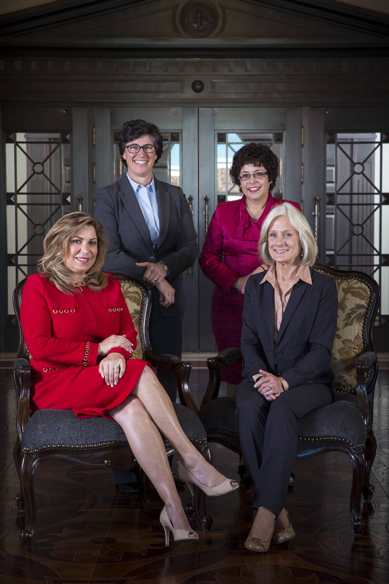 Justice Abbi Silver, from left, Justice Lidia S. Stiglich, Justice Elissa F. Cadish and Justic ...