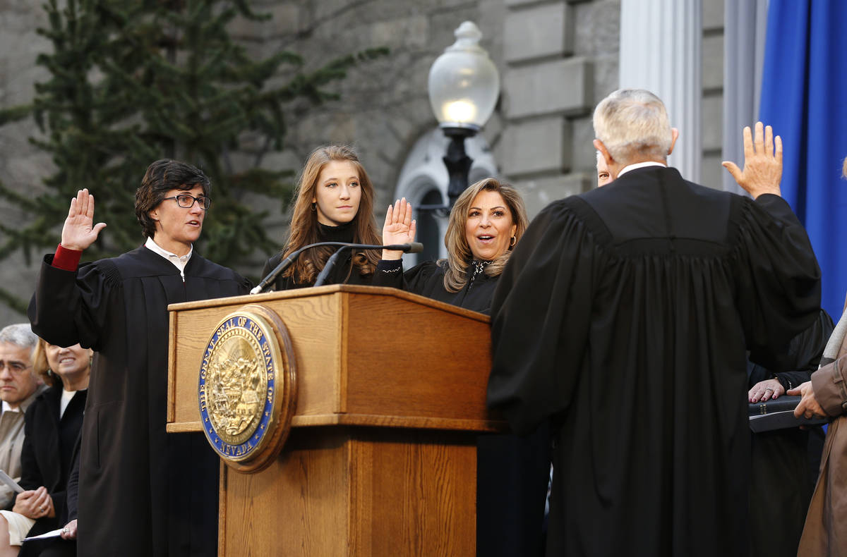 Nevada Supreme Court Justices, Lidia Siglich, left, Abbi Silver, center, and Elissa Cadish, not ...