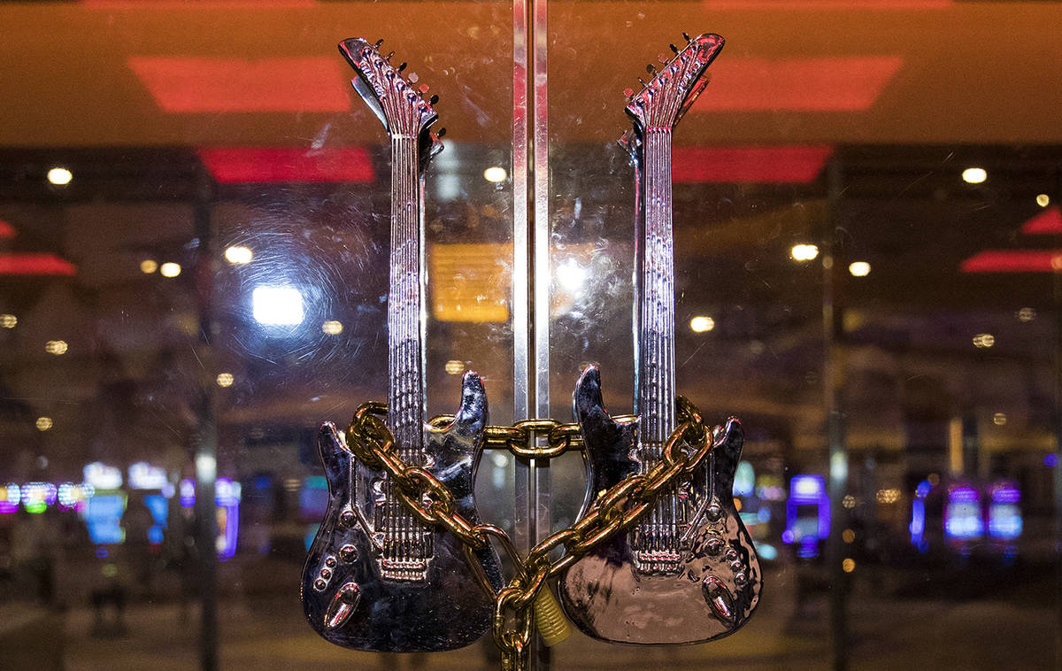 The Hard Rock Hotel's front doors are chain locked in Las Vegas, Monday, Feb. 3, 2020. The prop ...