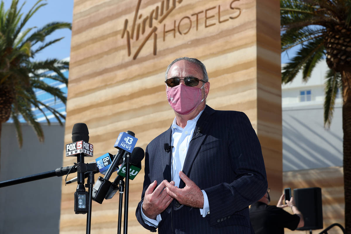 """Richard """"Boz"""" Bosworth speaks during a press conference to announce the reopening ..."""