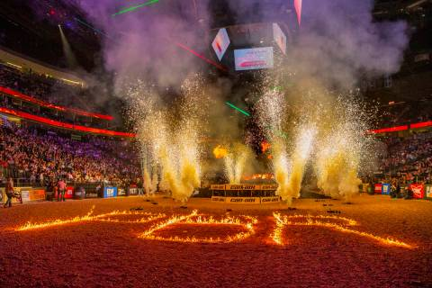 Opening ceremonies during the third day of the PBR World Finals at T-Mobile Arena on Friday, No ...
