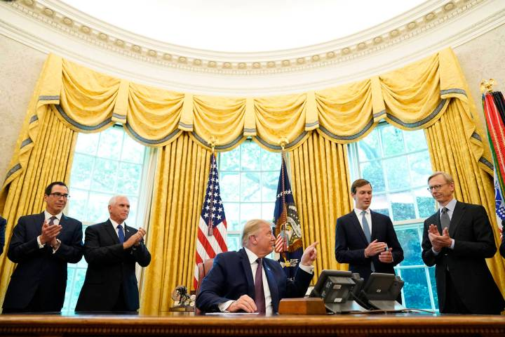 President Donald Trump speaks in the Oval Office of the White House on Friday, Sept. 11, 2020, ...