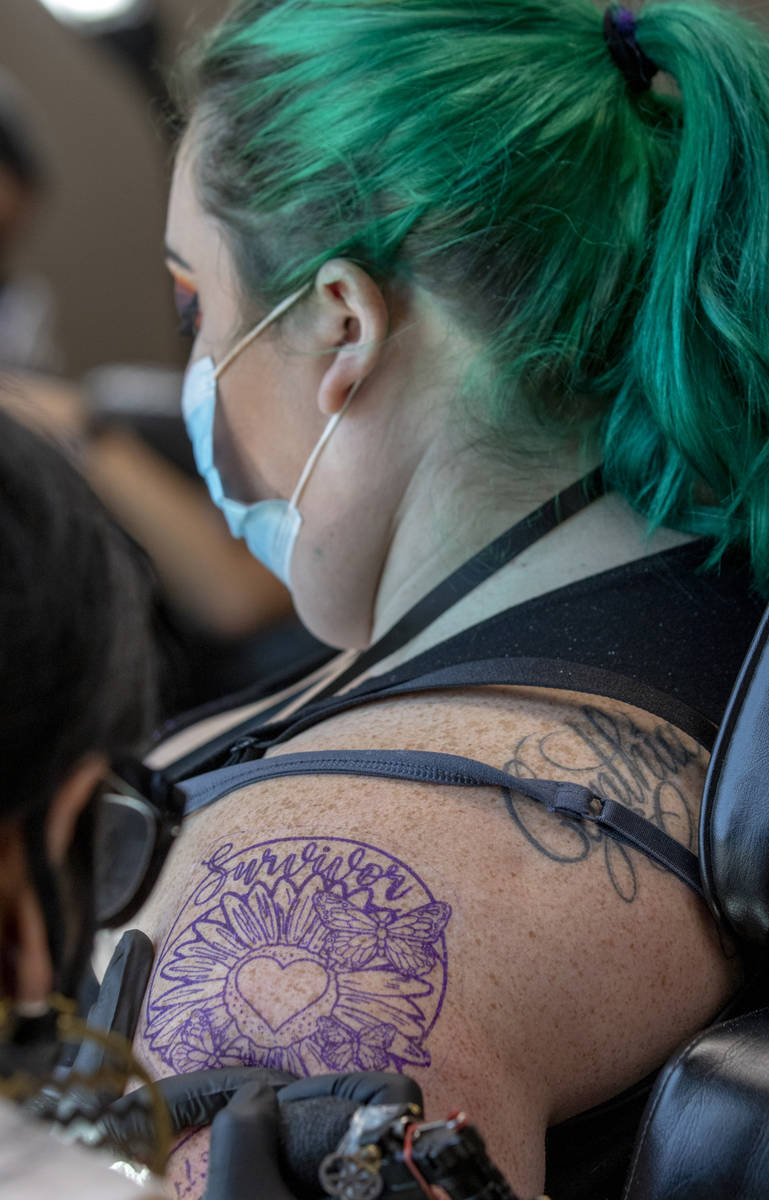 Shannon Loveless has work Dione by artist Jaded Moon as Route 91 shooting survivors and first r ...