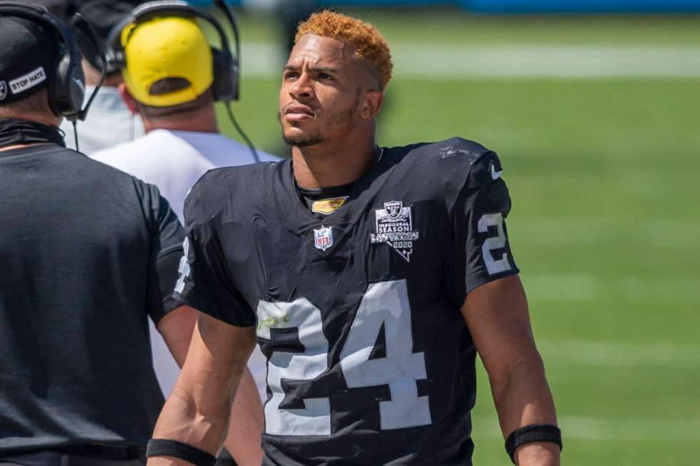 Las Vegas Raiders safety Johnathan Abram (24) looks at the scoreboard in the 4th quarter of an ...