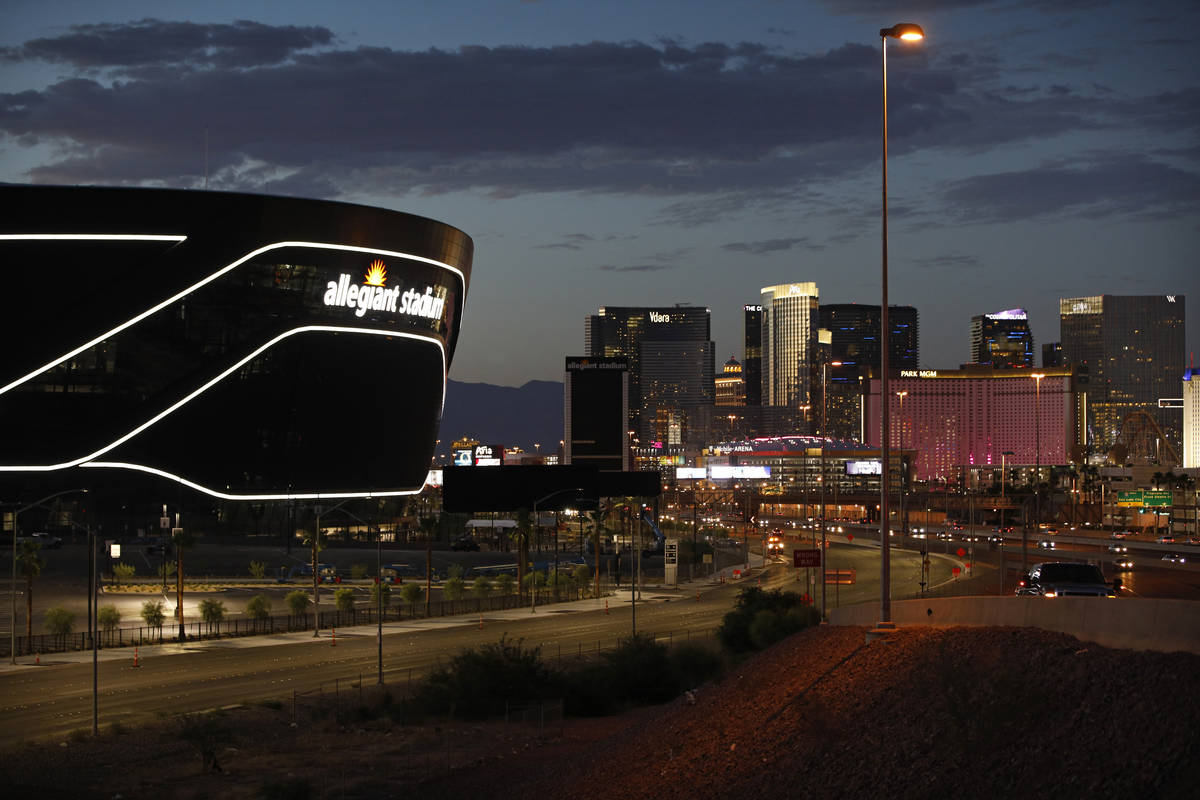 In this July 22, 2020, file photo, the sun sets behind Allegiant Stadium, home of the Las Vegas ...