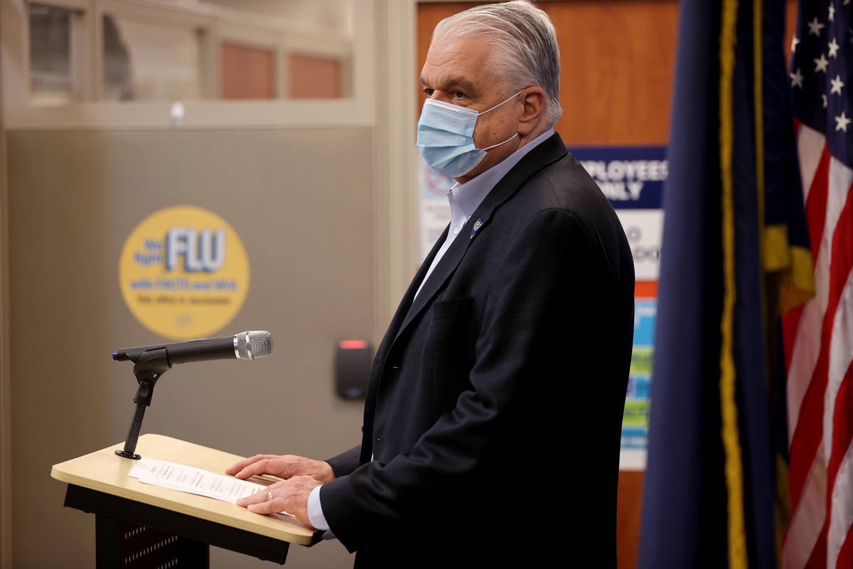 Gov. Steve Sisolak promotes flu shots during a news media briefing hosted by Immunize Nevada an ...