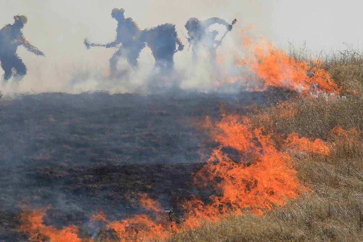 Cal Fire's Boggs helitack assist in putting out a 12 acre brush fire in Larkfield Calif., Thurs ...