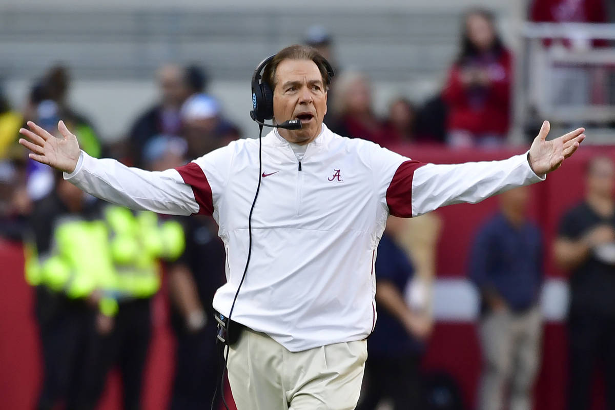 FILE - In this Nov. 9, 2019, file photo, Alabama coach Nick Saban reacts during the first half ...