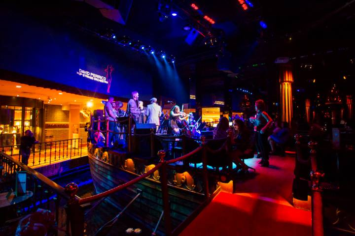 The David Perrico Pop Strings Orchestra performs at Cleopatra's Barge at Caesars Palace in Las ...