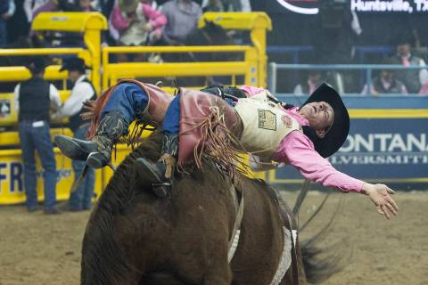 Tilden Hooper makes his run during National Finals Rodeo in 2018, at Thomas & Mack Center, in ...