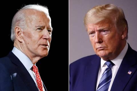 In this combination of file photos, former Vice President Joe Biden, left, speaks in Wilmington ...