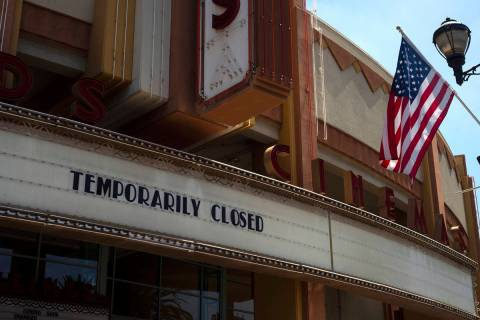 A movie theater is seen closed due to the coronavirus pandemic Thursday, July 2, 2020, in Brea, ...