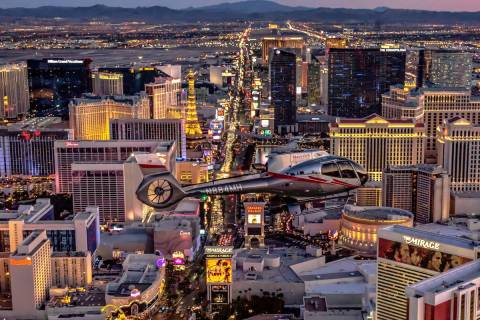 A Maverick helicopter is shown above the Las Vegas Strip. (Maverick Helicopters)
