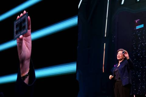 Lisa Su, CEO and president of Advanced Micro Devices, unveils the third generation AMD Ryzen Th ...