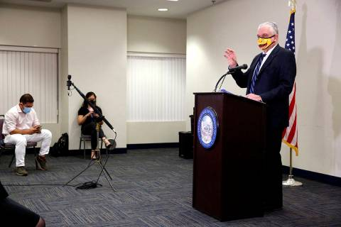 Nevada Governor Steve Sisolak speaks during a news conference at the Grant Sawyer State Buildin ...