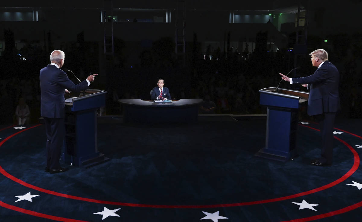 President Donald Trump and Democratic presidential candidate former Vice President Joe Biden pa ...