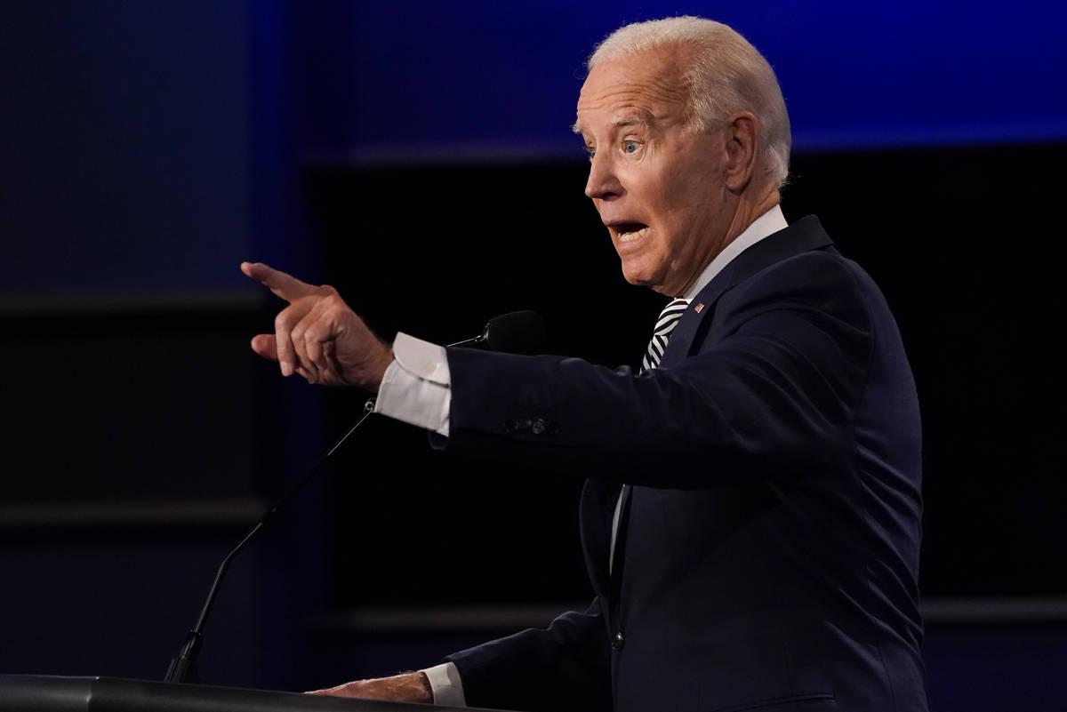 Democratic presidential candidate former Vice President Joe Biden gestures while speaking durin ...