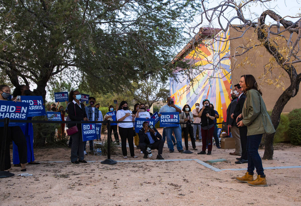 Democratic vice presidential candidate Sen. Kamala Harris, D-Calif., greets supporters after sp ...