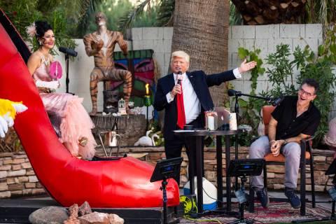"Las Vegas comic actor John Di Domenico portrays President Trump during the PodKats! ""End of Sum ..."