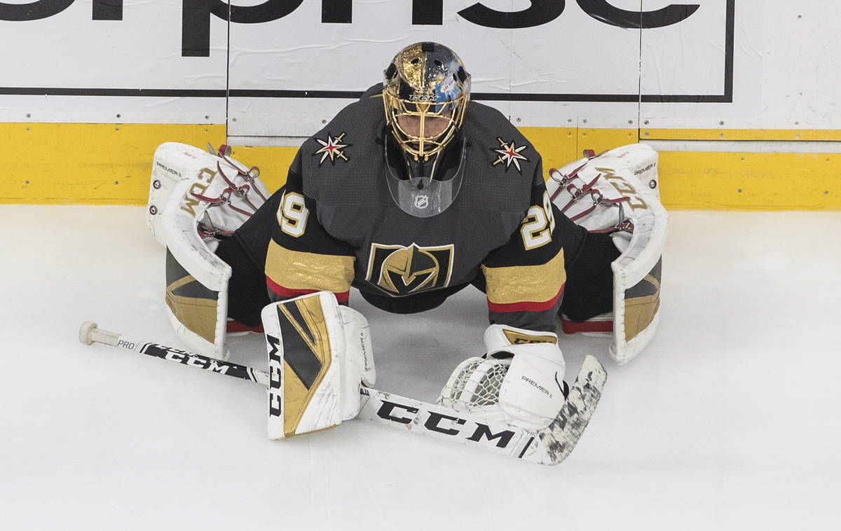 Vegas Golden Knights goalie Marc-Andre Fleury (29) warms up before NHL Western Conference Stanl ...