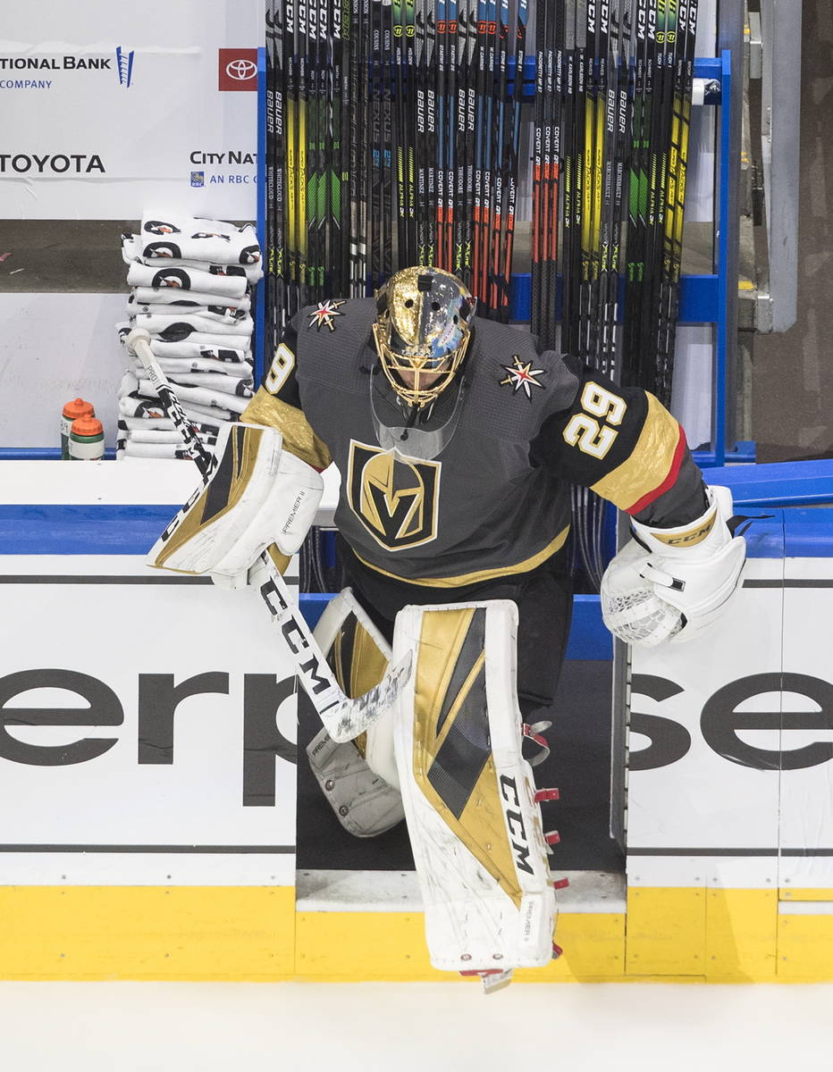 Vegas Golden Knights goalie Marc-Andre Fleury (29) hits the ice for warm-up before NHL Western ...