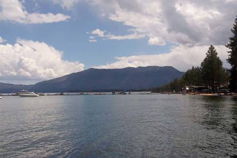 Boats float on Lake Tahoe near South Lake Tahoe, California, in 2017. (Las Vegas Review-Journal)