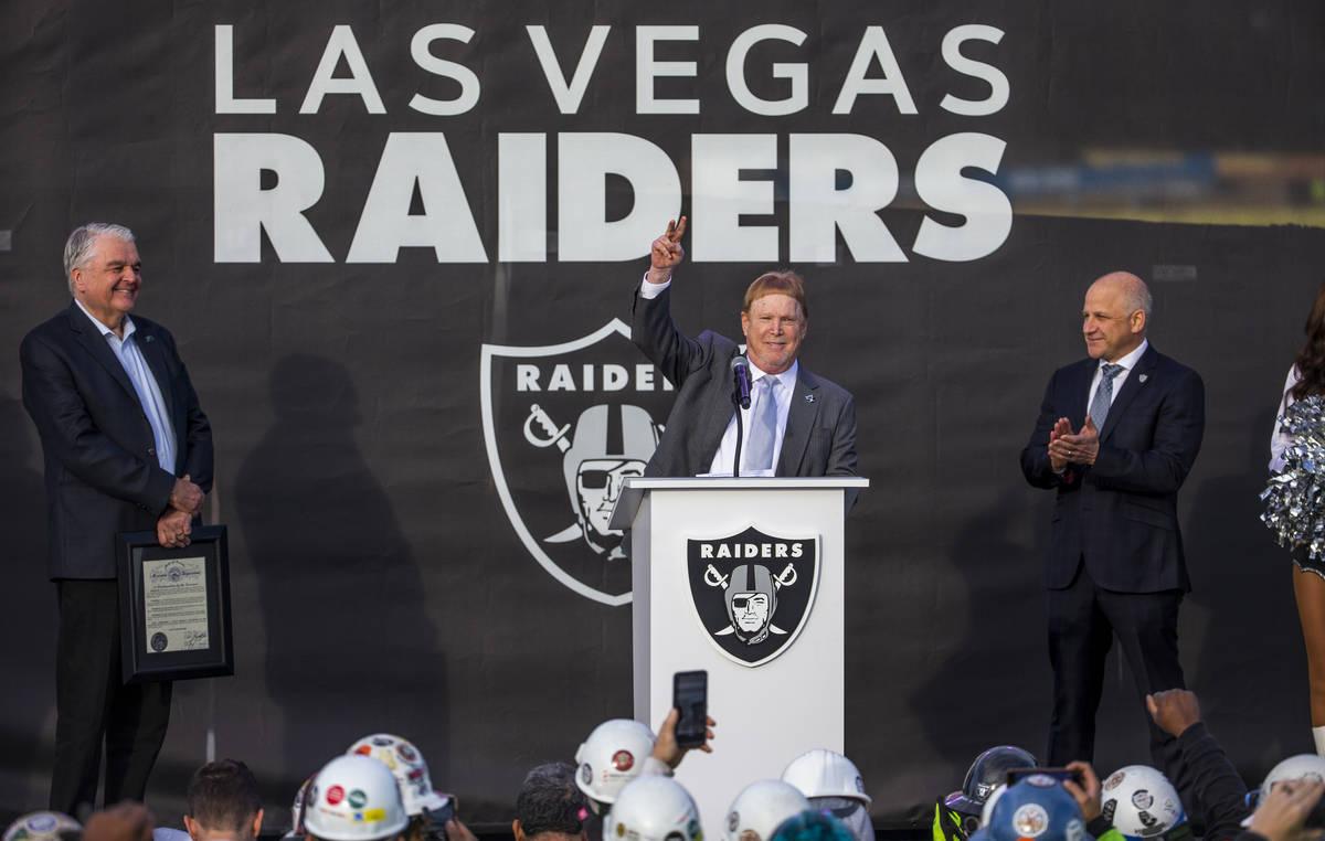 Las Vegas Raiders owner Mark Davis addresses the crowd during a ceremony at Allegiant Stadium o ...