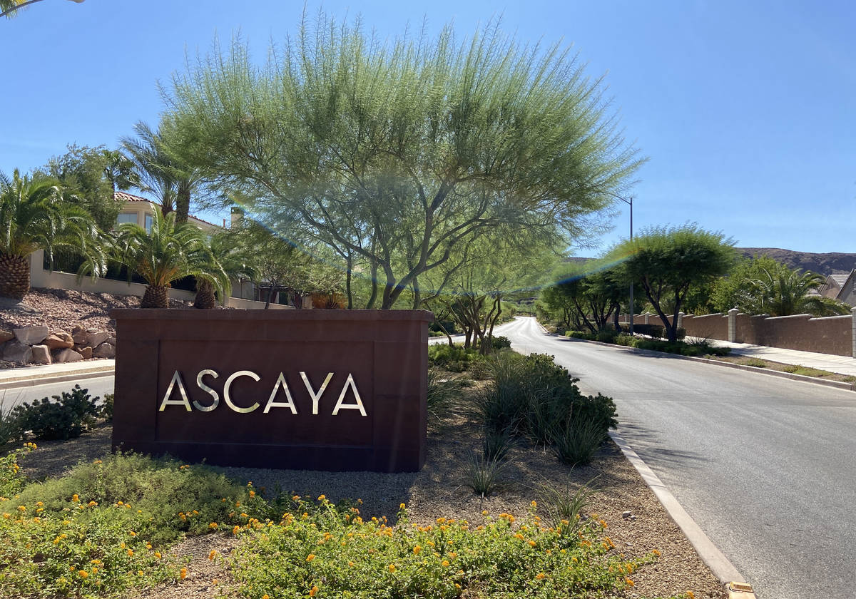 The entrance to Ascaya, an exclusive mountainside custom home community in Henderson, Nevada on ...