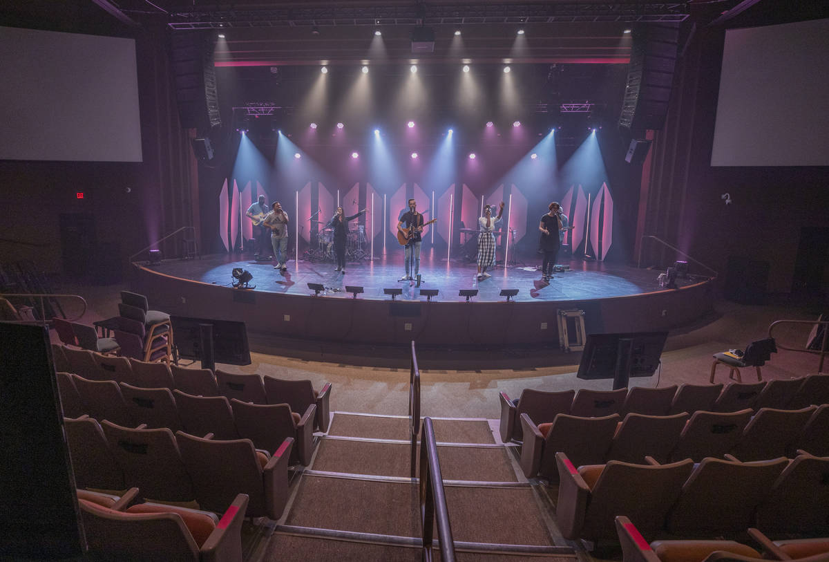 Canyon Ridge Christian Church's worship team practices on Thursday, Oct. 1, 2020, for the churc ...