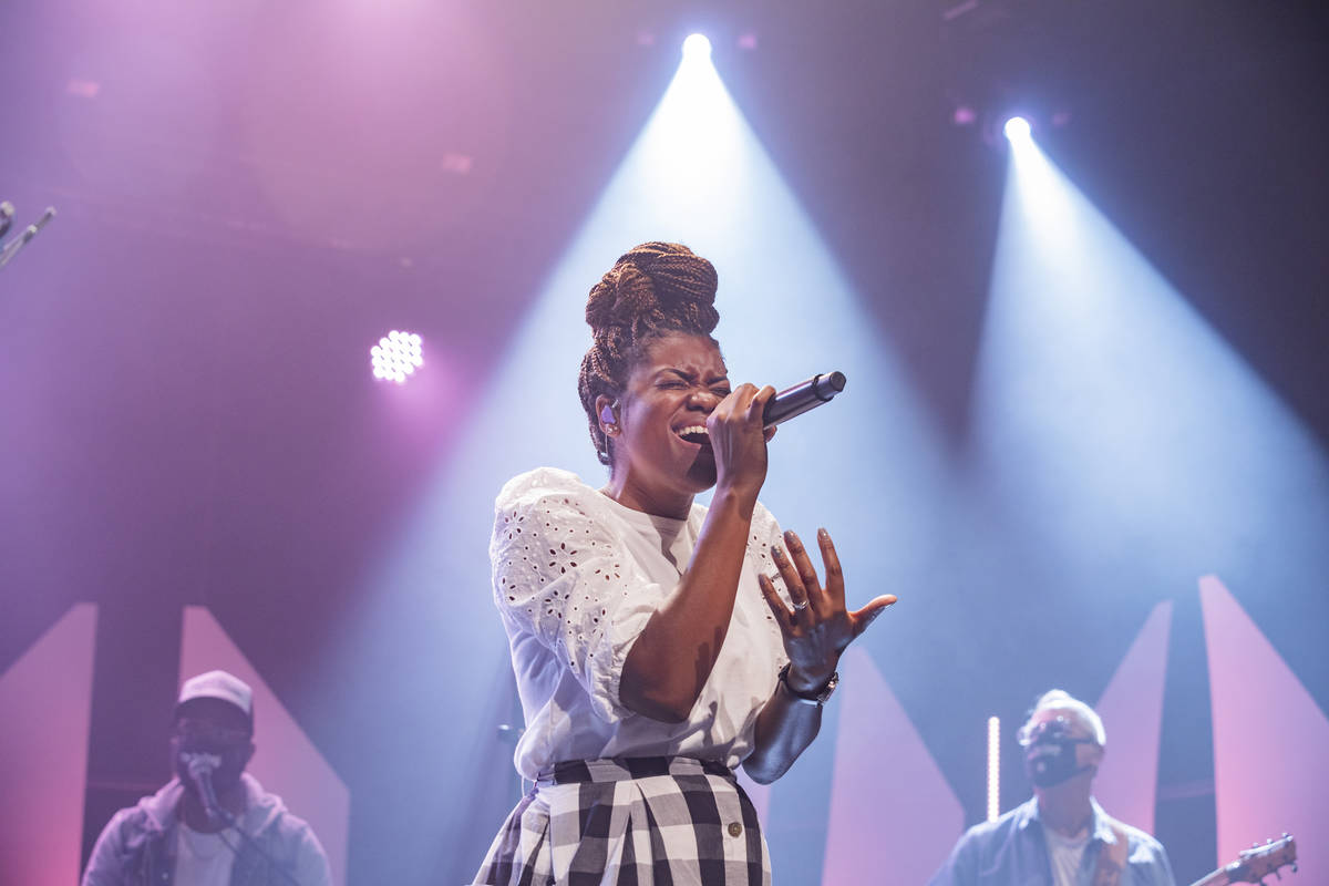 Vocal director Rogierre Armstrong practices with Canyon Ridge Christian Church's worship team o ...