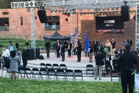 The 1 October Sunrise Remembrance begins at the Clark County Government Center amphitheater on ...