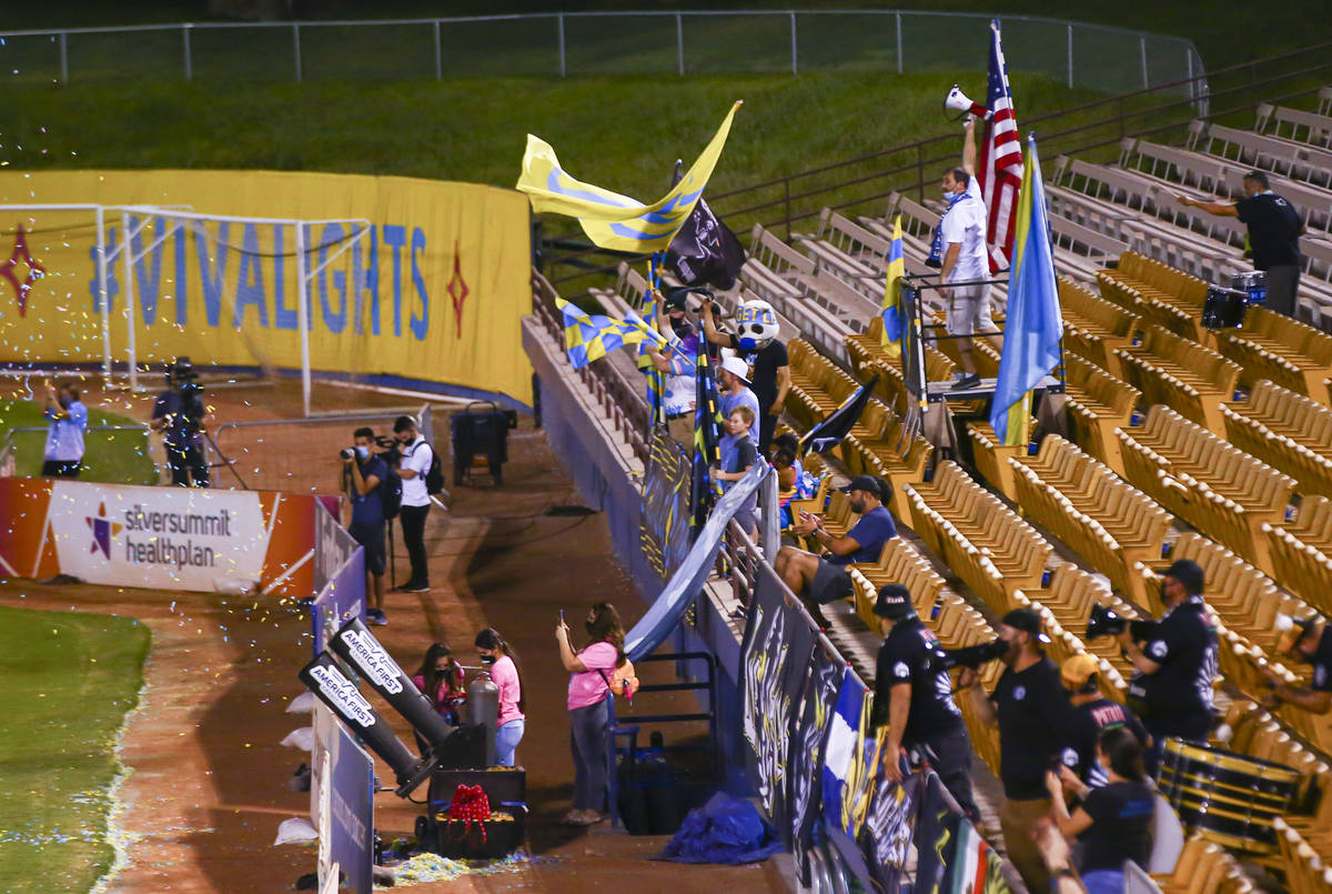 Las Vegas Lights FC fans cheer after a goal was scored during a USL Championship soccer game ag ...