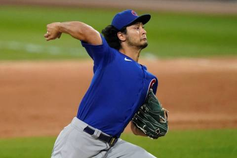 Chicago Cubs starting pitcher Yu Darvish throws to a Chicago White Sox batter during the first ...