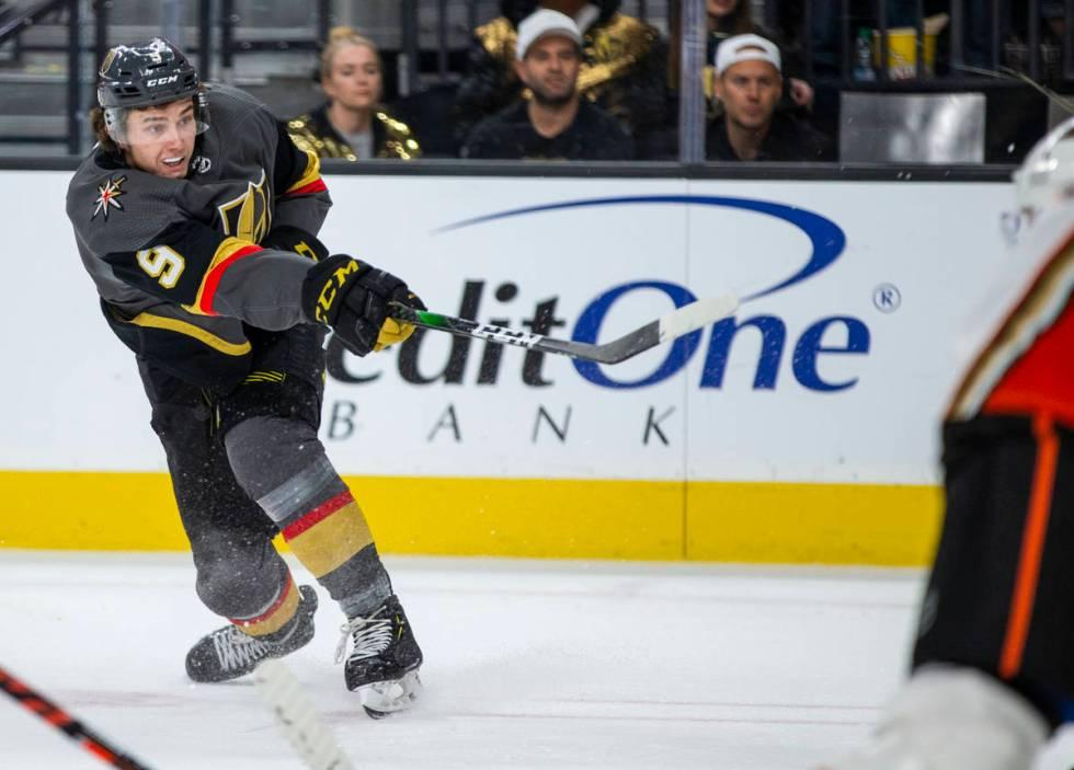Vegas Golden Knights center Cody Glass (9) fires a shot at a goal versus the Anaheim Ducks duri ...