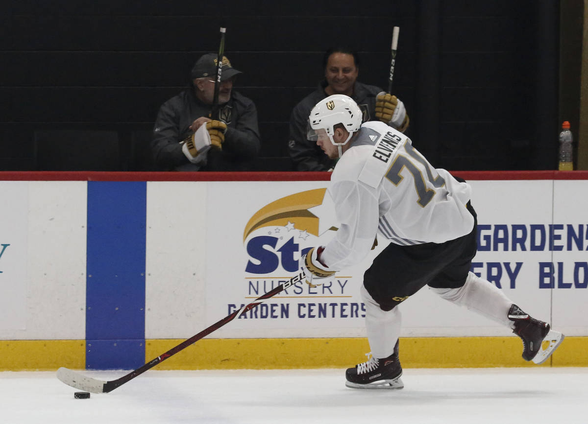 Golden Knights forward Lucas Elvenes skates with the puck during Knights rookie camp practice a ...