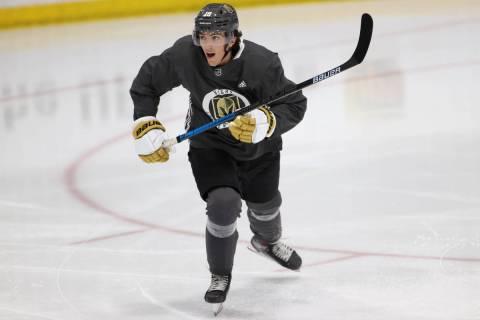 Vegas Golden Knights Peyton Krebs (18) during a team practice at City National Arena in Las Veg ...