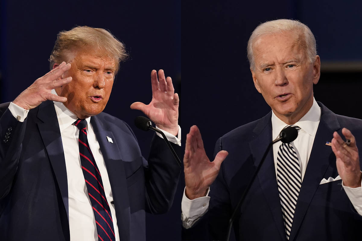 President Donald Trump, left, and former Vice President Joe Biden are seen during the first pre ...