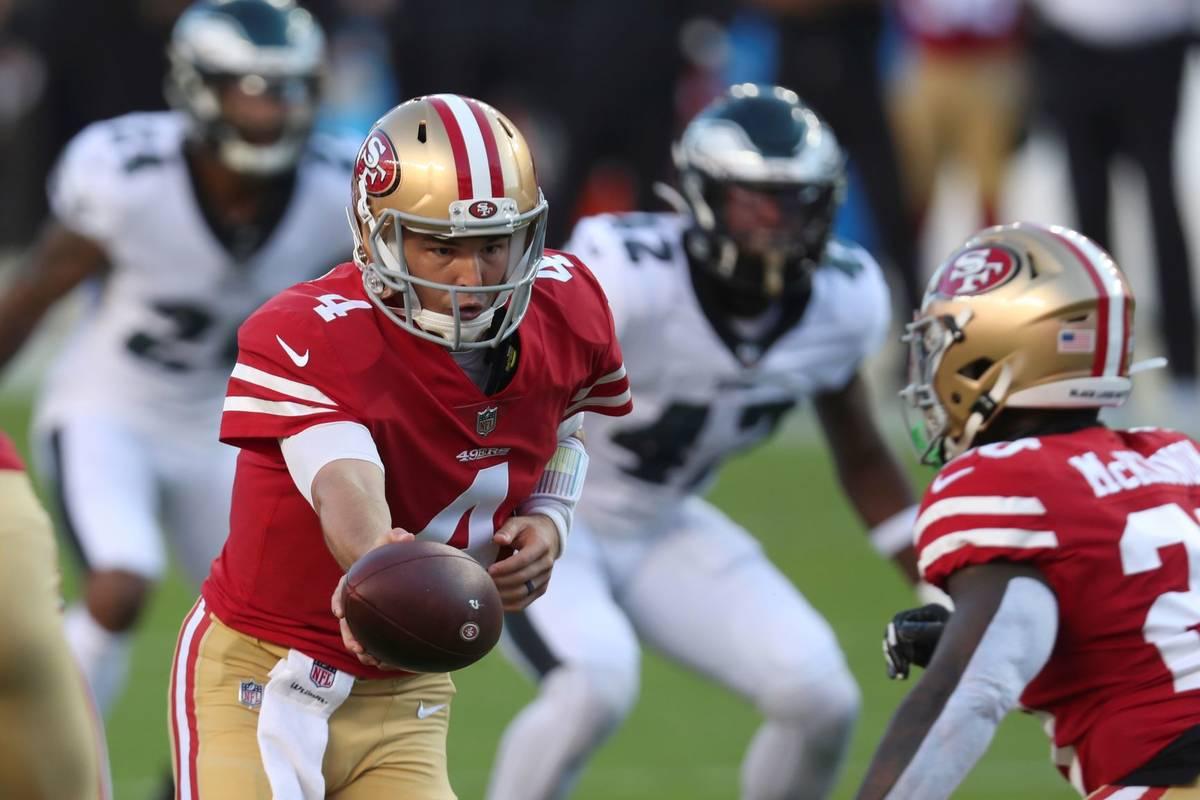 San Francisco 49ers quarterback Nick Mullens (4) drops back against the Philadelphia Eagles dur ...