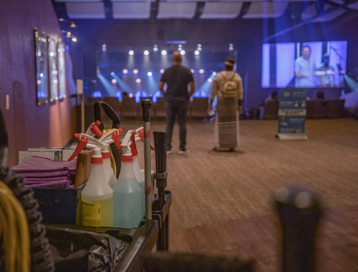 Cleaning supplies are seen during Canyon Ridge Christian Church's first in-person service since ...