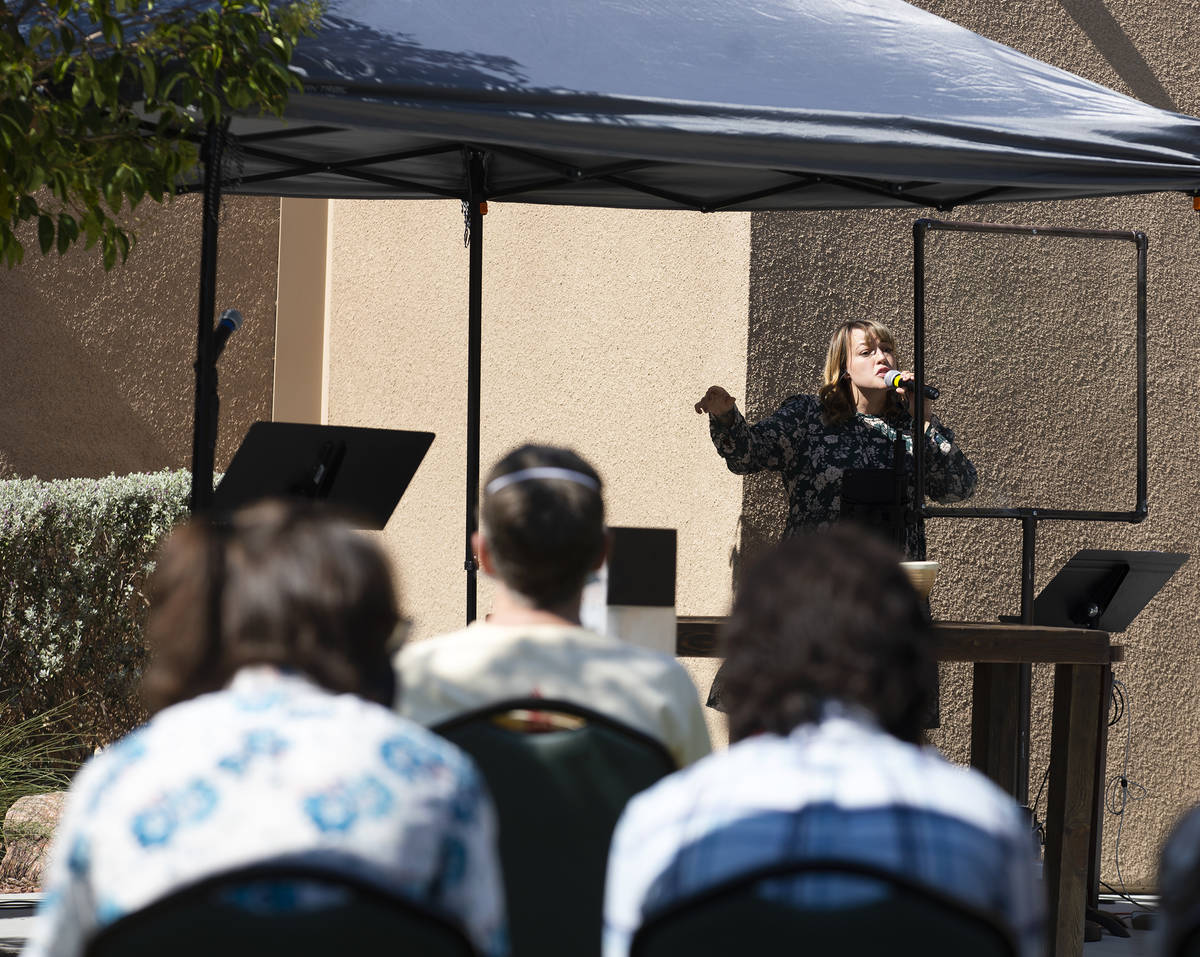 Katie Beall sings at the first live service for her church since the coronavirus pandemic&#x573 ...