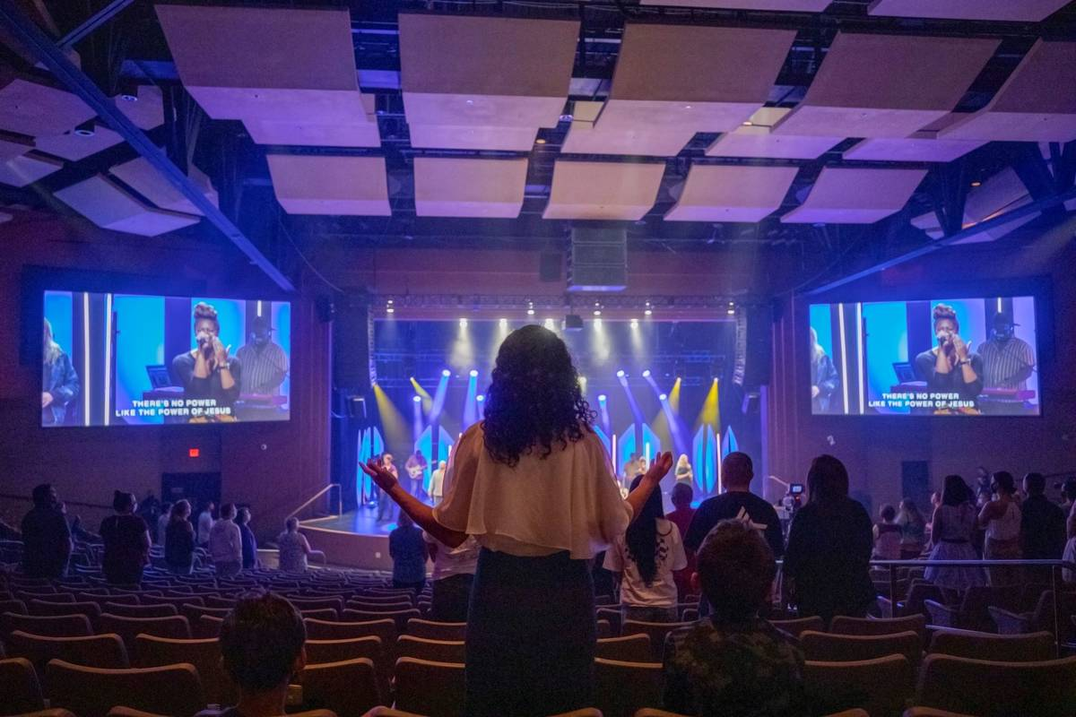 Canyon Ridge Christian Church attendees meet for their first in-person service since mid-March, ...