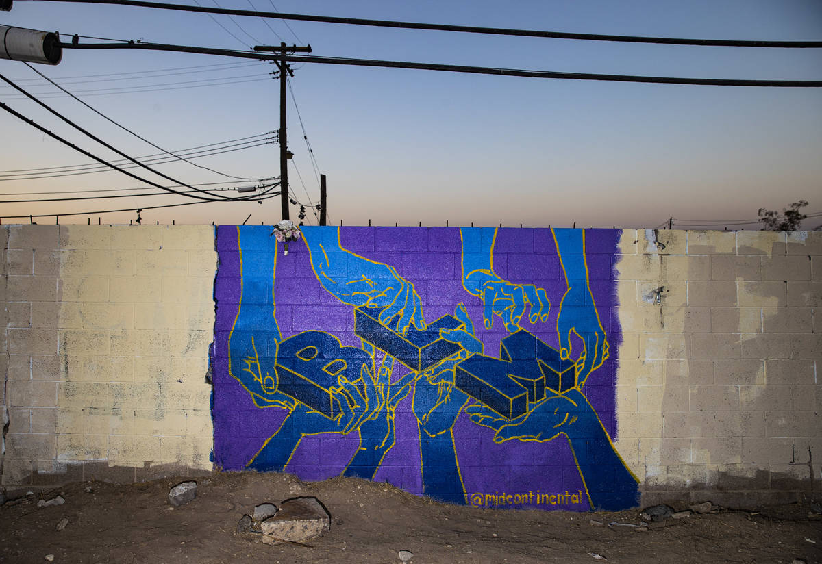 A mural at the site of the former Moulin Rouge in Las Vegas on Saturday, Oct. 3, 2020. (Chase S ...