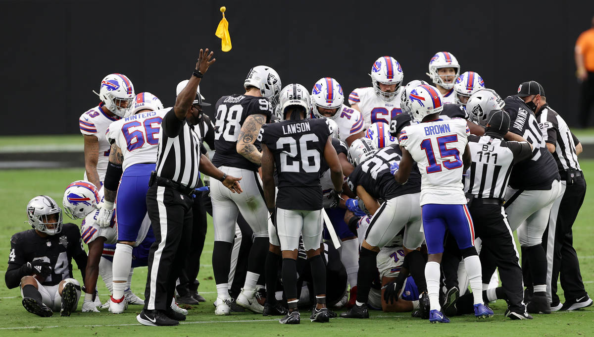 A flag on the play is called against the Las Vegas Raiders in the second quarter during an NFL ...