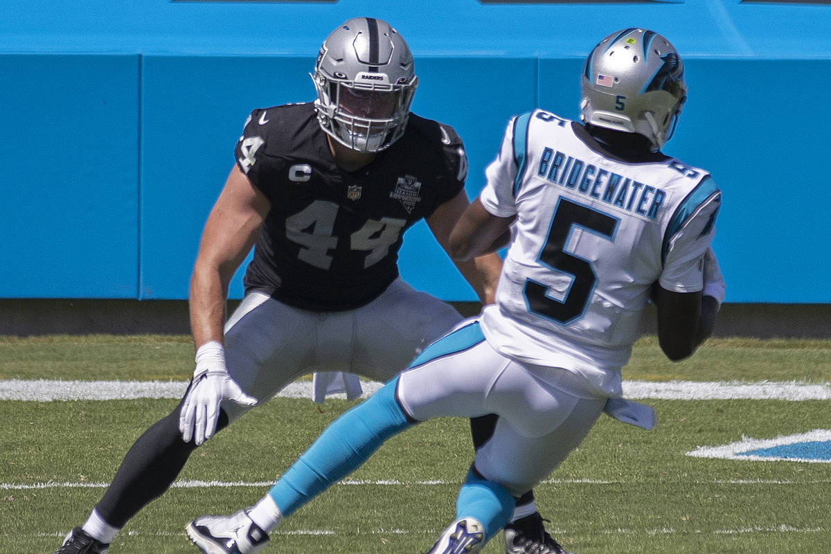 Las Vegas Raiders inside linebacker Nick Kwiatkoski (44) closes in on Carolina Panthers quarter ...