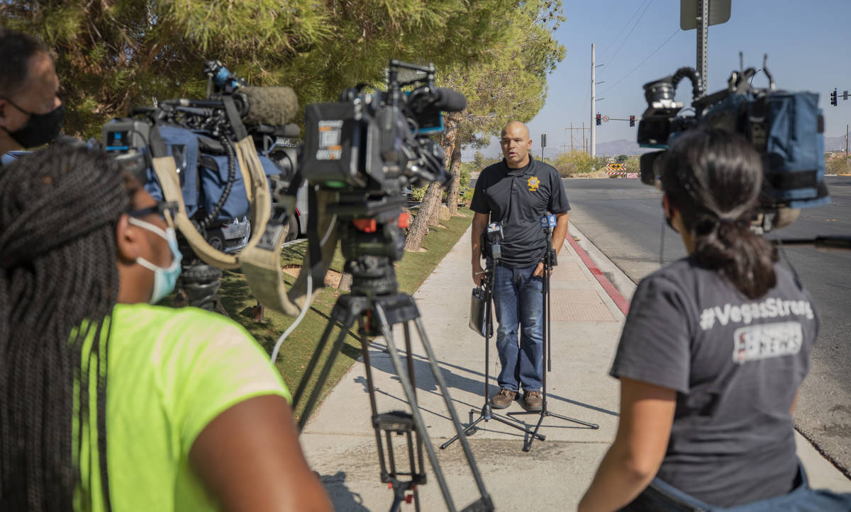 Metropolitan Police Department Lt. Ray Spencer gives a media briefing regarding a homicide inve ...