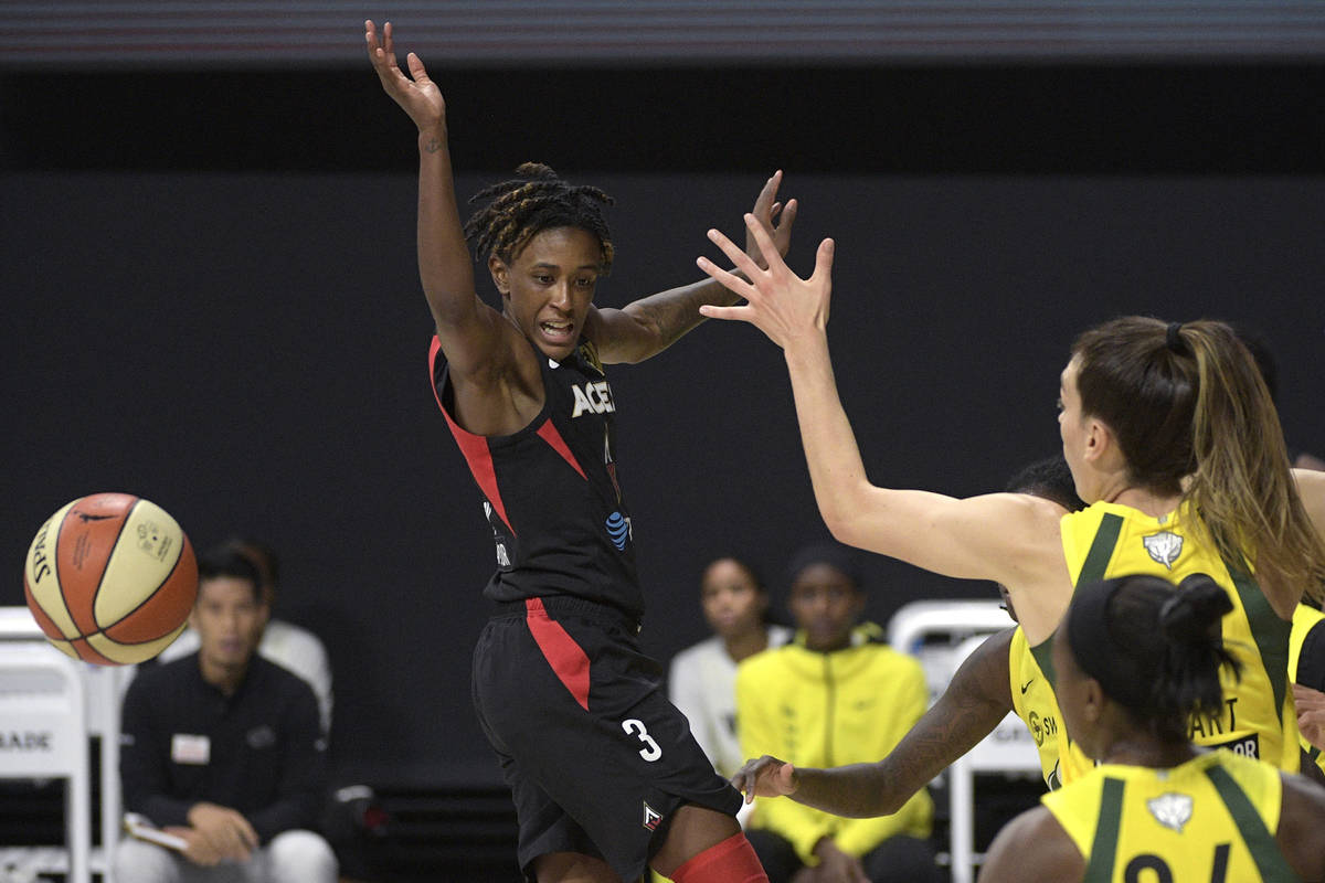 Las Vegas Aces guard Danielle Robinson (3) loses control of the ball while driving to the baske ...