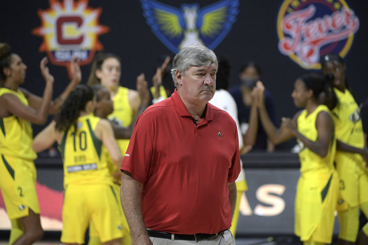 Las Vegas Aces head coach Bill Laimbeer leaves the court as Seattle Storm players, background, ...