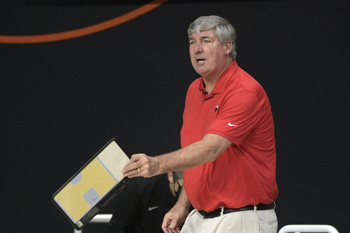 Las Vegas Aces head coach Bill Laimbeer argues with an official during the first half of Game 2 ...